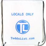 teddslist Locals Only White Drawstring Backpack