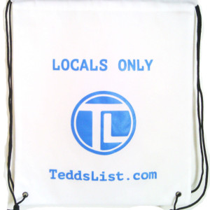 teddslist Locals Only White Drawstring Backpack